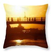 Hapenny Bridge Over River Liffey River Throw Pillow