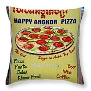Happy Angkor Pizza Sign Throw Pillow