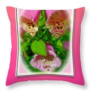 Happy Birthday Card - Foxgloves Throw Pillow