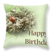 Happy Birthday Greeting Card - Ladybug On Dried Queen Anne's Lace Throw Pillow