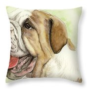 Happy Bulldog Throw Pillow