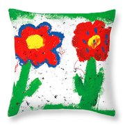 Happy Colorful Flowers Throw Pillow