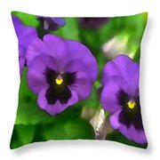 Happy Faces Purple Pansies Throw Pillow