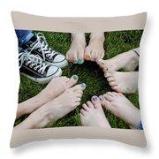 Happy Feet Throw Pillow
