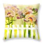Happy Flower Faces Throw Pillow