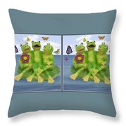 Happy Frogs - Gently Cross Your Eyes And Focus On The Middle Image Throw Pillow
