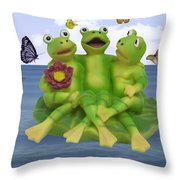 Happy Frogs Throw Pillow