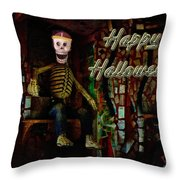 Happy Halloween Skeleton Greeting Card Throw Pillow