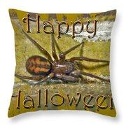 Happy Halloween Spider Greeting Card Throw Pillow