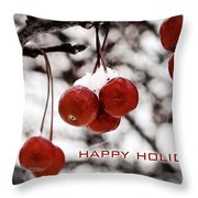 Happy Holidays Berries Throw Pillow