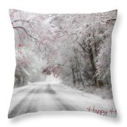 Happy Holidays - Clarks Valley Throw Pillow by Lori Deiter
