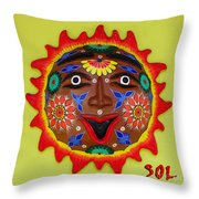 Happy Sol Face Throw Pillow