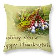 Happy Thanksgiving Greeting Card - Autumn Viburnum Berries Throw Pillow