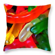 Happy Worms Throw Pillow