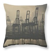Harbor Cranes Throw Pillow