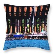 Harbor Docks Throw Pillow