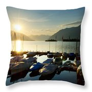 Harbor In Sunrise Throw Pillow