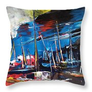 Harbour In Spain Throw Pillow