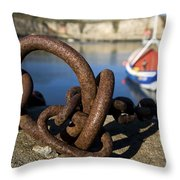 Harbour With Mooring And Fishing Boat Throw Pillow by John Short