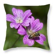 Hardy Geranium And Honey Bee Throw Pillow