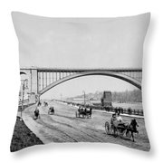 Harlem River Speedway Scene Beneath The George Washington Bridge Throw Pillow