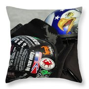 Harley Helmets Throw Pillow