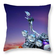 Harley Sunset Throw Pillow