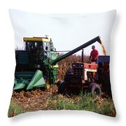 Harvesting Corn Throw Pillow