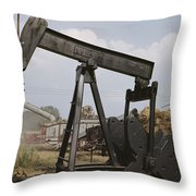 Harvestors Trash Fields While Black Throw Pillow