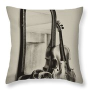 Hat And Fiddle Throw Pillow