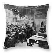 Hat Factory, C1900 Throw Pillow