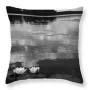 Haukkajarvi Water Lilies In Bw Throw Pillow