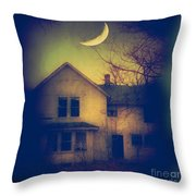 Haunted House Throw Pillow by Jill Battaglia