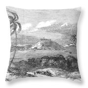 Havana, Cuba, 1851. /na View Of The Harbor And Fort Of Atares. Wood Engraving, English, 1851 Throw Pillow