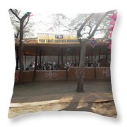 Having A Good Time When Preparing Food In A Booth In The Surajkand Mela Throw Pillow