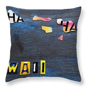 Hawaii License Plate Map Throw Pillow