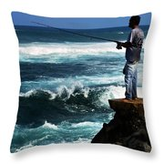 Hawaiian Fisherman Throw Pillow