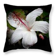 Hawaiian White Hibiscus Throw Pillow