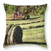 Hay Bale And Tractor Throw Pillow