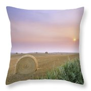 Hay Bales And Sunrise In Fog Throw Pillow