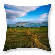 Hay Bales In A Field, Ireland Throw Pillow