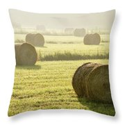 Hay Bales In Mist At Sunrise Throw Pillow