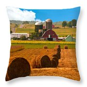 Hay Bales Leading To Barn Throw Pillow