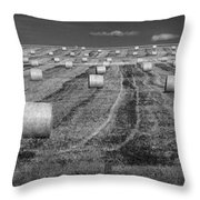 Hay Bales On A Farm In Alberta Throw Pillow