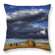Hay Bales Under Cumulus Clouds Throw Pillow