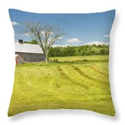 Hay Being Harvested Near Barn In Maine Throw Pillow