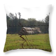 Hay Lined Up Throw Pillow