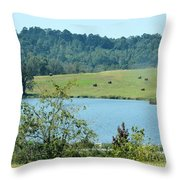 Hay Rolls On A Hill Throw Pillow