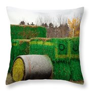 Hay Tractor Throw Pillow