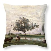 Haycart Beside A River  Throw Pillow